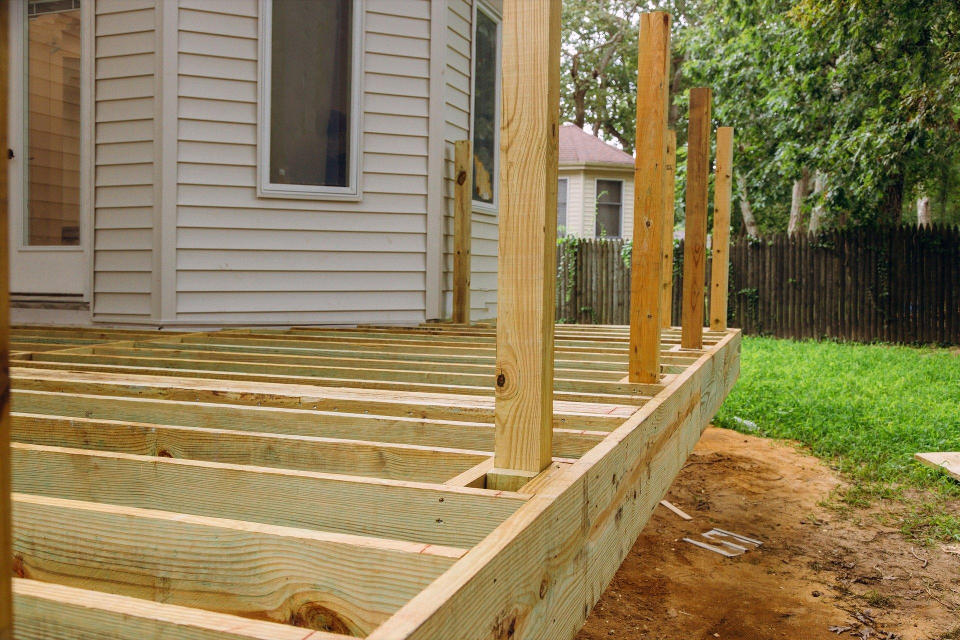 pine deck under construction